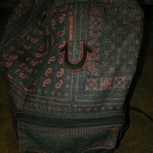 True religion black and red backpack